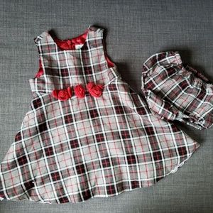 Children's Place, Plaid Infant Dress, Red, Gray